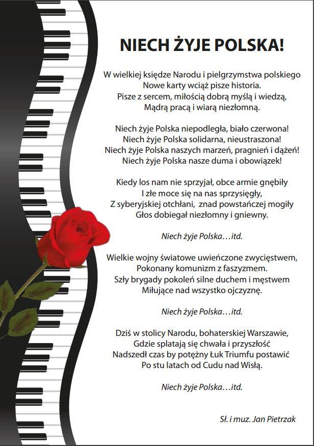 ulotka niech Żyje Polska słowa